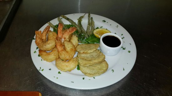 The Bistro at Sky Beach Club: Our of our new dishes Tempura Shrimp with Tempura Sweet Potato & Vert Haircot