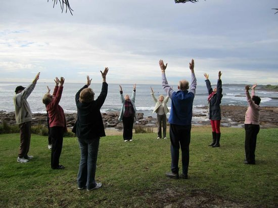 The 'laughing' group enjoying the fresh air at Shelley Beach, by Cronulla Beach Walk.