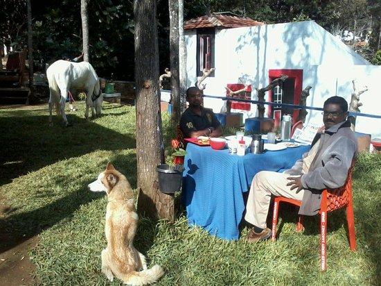 The Regent Hill Side Villa & Resort: Myself with Mr. Vishu Kaliappa having Continental breakfast at the lawn :)
