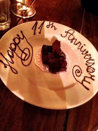 Hotel du Vin & Bistro: Nice touch in bistro for our anniversary