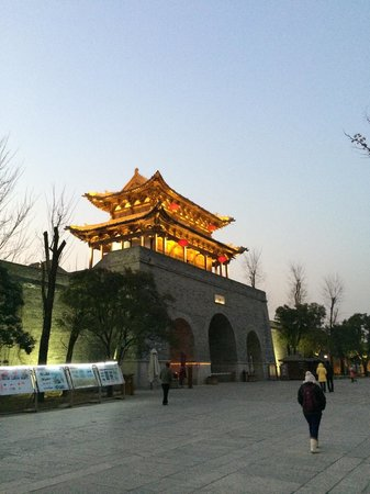 Taierzhuang Ancient Canal: City Gate view from inside the city in the evening
