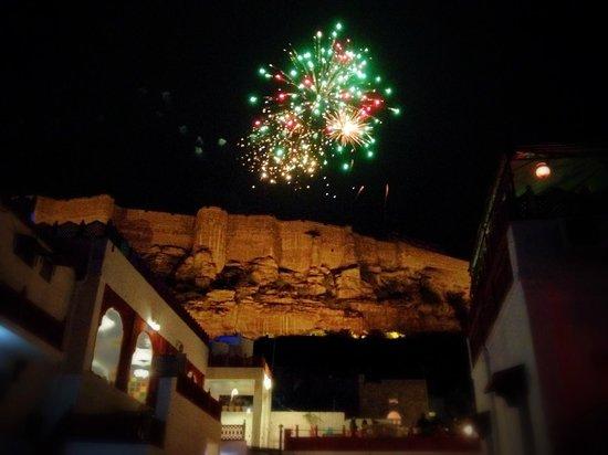 Krishna Prakash Heritage Haveli: New Year's Fireworks from Mehrangarh Fort