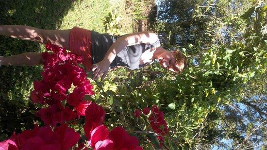 Establo San Rafael B&B: mi hija disfrutando de un jardín de buganvilleas