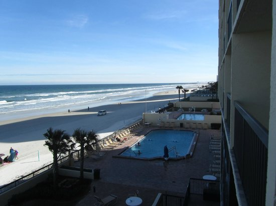 Holiday Inn Express and Suites Oceanfront: View looking south from 2nd floor room still quite high!