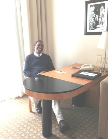 Sofitel Montreal Golden Mile: My friend Phil enjoying the ambience of the work area
