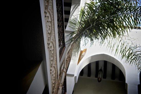 Riad Aguaviva: Looking up through the atrium in lobby