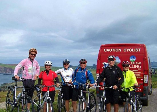 Cyclists behind the West Ireland Cycling Support Vehicle