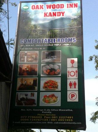 Oak Wood Inn Kandy Hotel : New sign