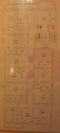 Hotel Alibi: planimetria primo piano