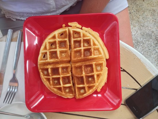 About Cafe' Koh Samui : Freshly made waffle with real honey.  There are a lot of honey flavoured syrups used in Thailand