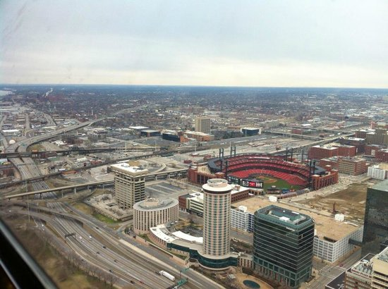 The Gateway Arch : view from the arch. you can see inside busch stadium