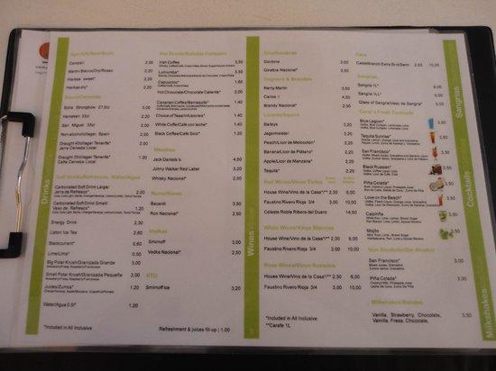 Paraiso del Sol Apartments : Carte complète du bar !!!