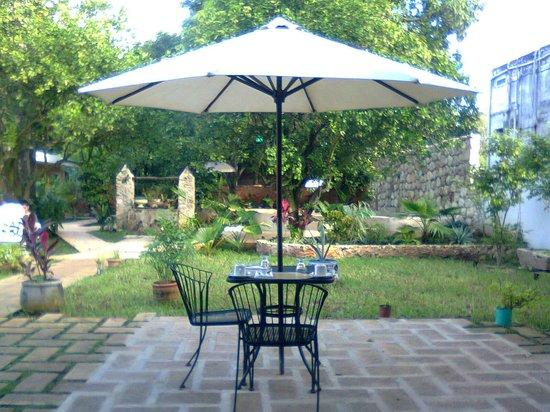 Casa Tía Micha: El jardín y lugar para desayunar