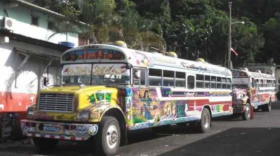 Scuba Panama: Buses in Portobelo seen on after tour to the ruins
