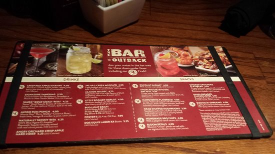 Drink Menu For Outback Steakhouse