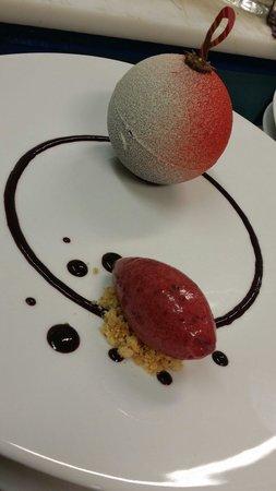 Le Relais de Bonnezeaux : Incroyable dessert chocolat blanc , cassis hibiscus