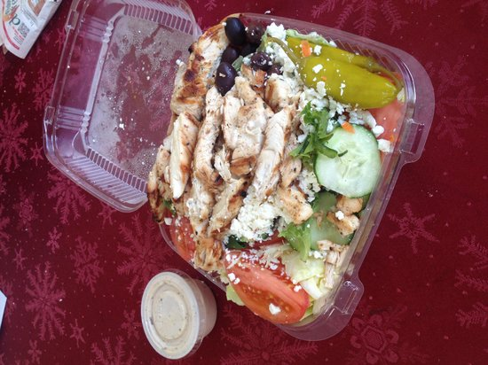 House of Pizza: Kabob chicken on Greek salad... Easily the best salad I've ever had from a take-out spot in Marl