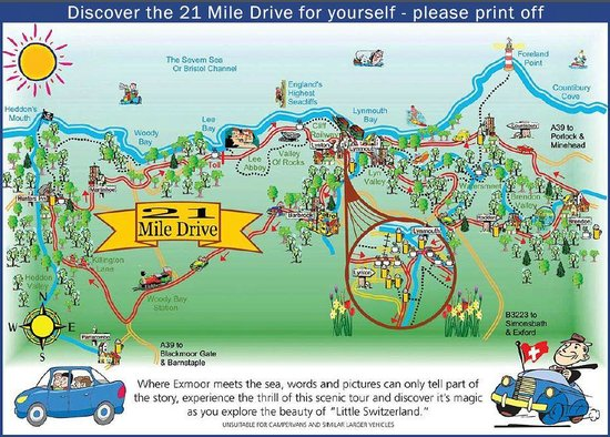 21 Mile Drive Map - Picture of 21 Mile Drive, Exmoor National Park  Mile Drive Map on