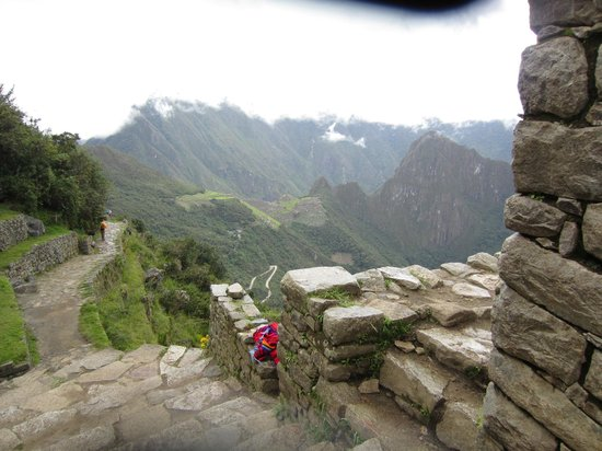Camino Inca: This is from the Sun Gate, first sight of MP from the Inca Trail