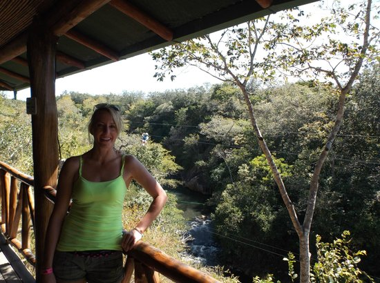 Go Adventures Traveling Costa Rica: In Restaurant looking over river and at zipliners