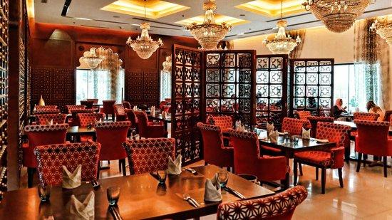 The elegant interior of the Saffron Lounge