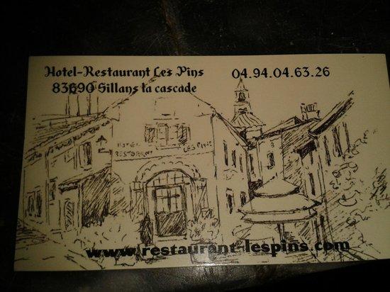 Restaurant Les Pins: CARTE DE VISITE