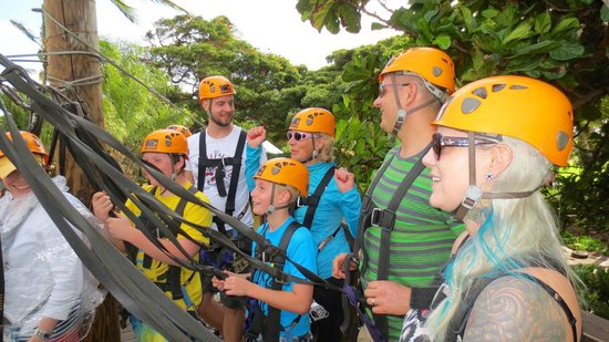 Maui Zipline Company: Up on the platform ready to zip