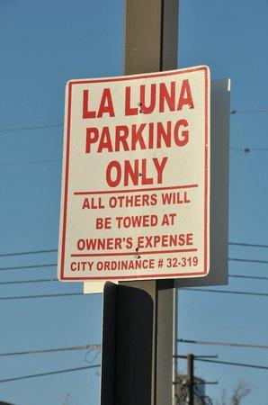 LA Luna Mexican Cafe: Parking can be tight downtown. La Luna provides free parking to patrons, a big plus.