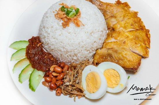 Mamak Corner Bar and Restaurant: Nasi Lemak ( Coconut Rice, Chicken Leg, Boiled Egg, Sambal Paste, Peanuts, Cucumbers&Fried Fish)