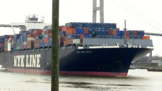 River Street Savannah: Container ship