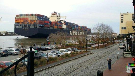 River Street Savannah: Ship leaving the port