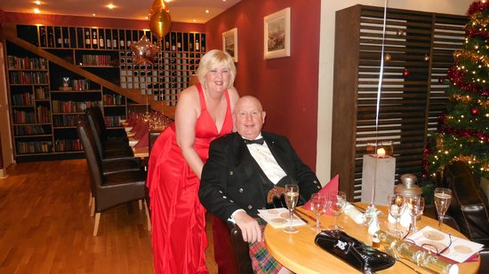 Mains of Taymouth Courtyard Restaurant: My wife and I at the New Years Eve Dinner in the Courtyard Restaurant