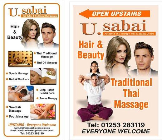 U Sabai Thai Massage: Shop Signs