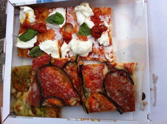 Pizza Florida: Mozzarella/basilic, auergines