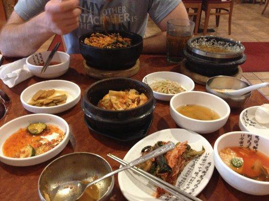 Lighthouse Tofu & BBQ: spicy mushroom soondubu jiggae and banchan