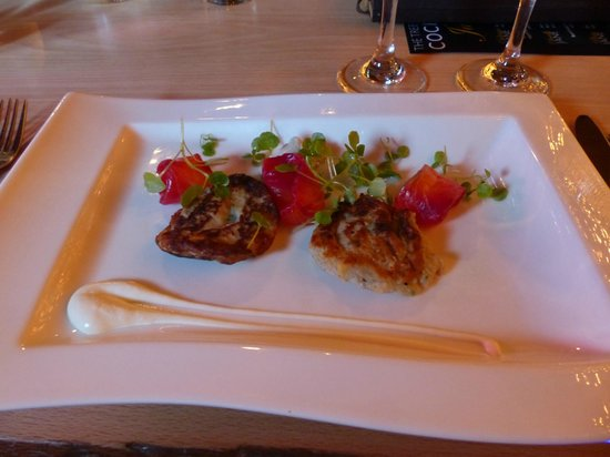 The Treehouse Restaurant at the Alnwick Garden: I think these were crab cakes