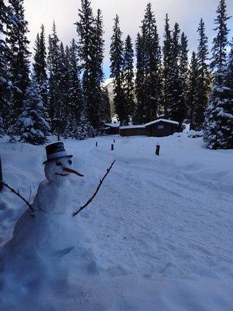 Lone Mountain Ranch: New Year's snowman near Larkspur cabin