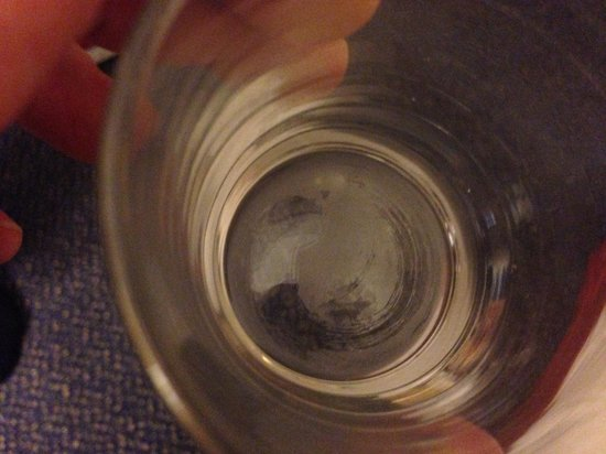 "Ramada Crawley Gatwick : This was the ""clean"" glass we were supposed to use in the bathroom!"