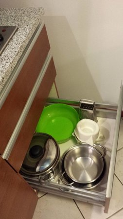 Residence del Mare: Kitchen -- mixing bowl, grater, pots