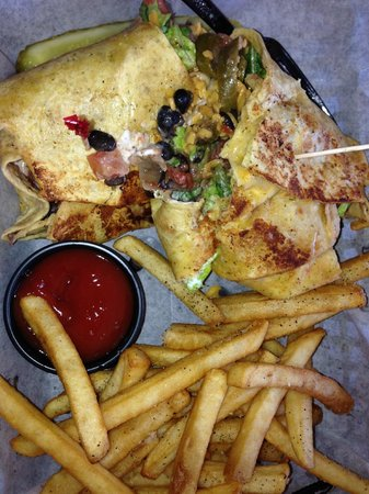 Wells Brothers Bar and Grill : Delicious Vegetarian Black Bean Burrito with Fries