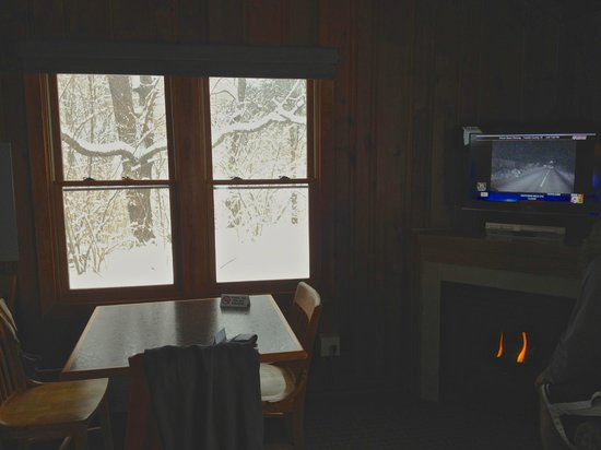 Hueston Woods Lodge and Conference Center : Inside - dining area, TV, fireplace