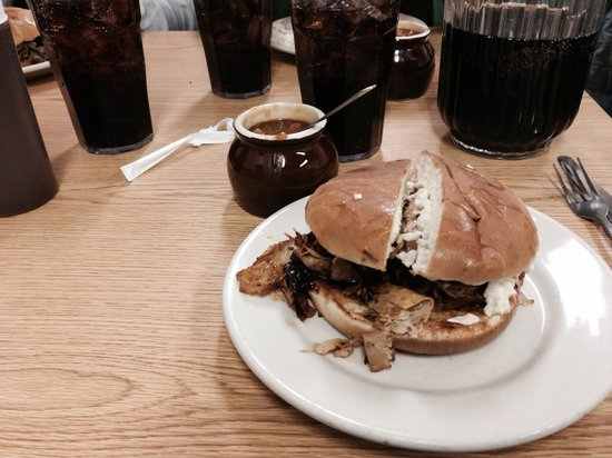 Ridgewood Barbecue: Smoked pork sandwich with slaw & a side of beans.
