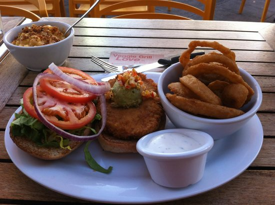 The Veggie Grill: Santa Fe Burger with Onion Rings, Mac-n-cheese side