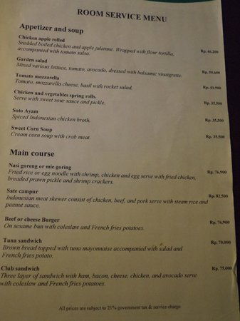 Bali Tropic Resort and Spa: Room service menu
