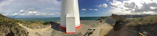 Castlepoint Lighthouse Walk: Panorama (rainbow on left)