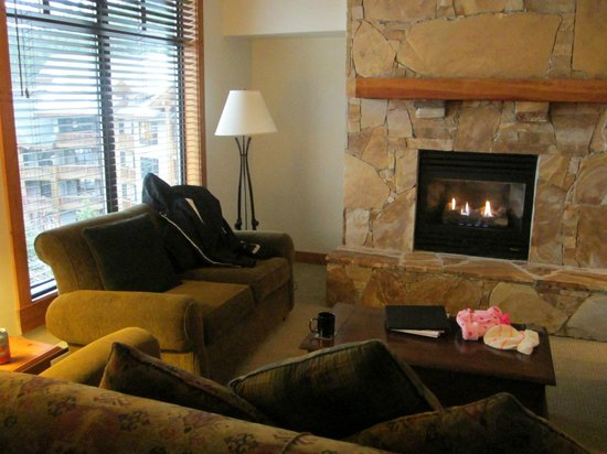First Tracks Lodge: Fireplace and living room in our apartment