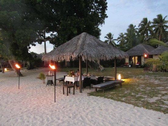 Eratap Beach Resort: Private dinner in Villa hut on beach - in front of villa