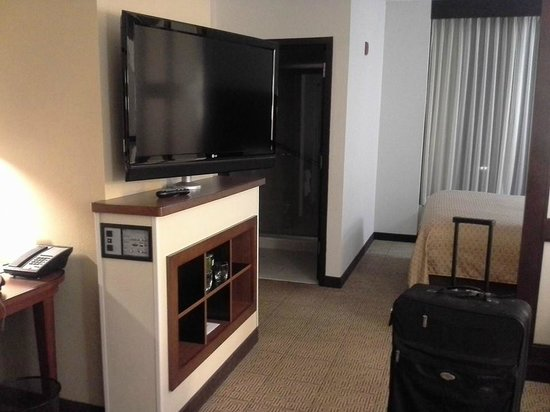 TV turns to be visible from the bed or couch Picture of Hyatt