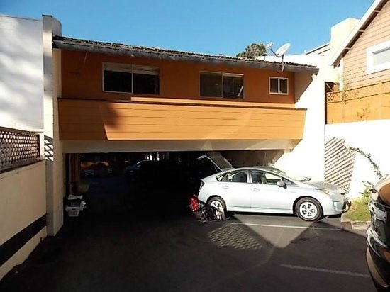 Clarion Collection Carmel By The Sea: prius hatch hitting parking breezeway roof