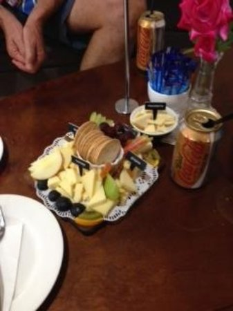 Gallo DairyLand: cheese, crackers and fruit platter, small!!! yummo.